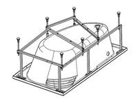 Каркас для акриловой ванны Шри-Ланка 150х100, с сифоном