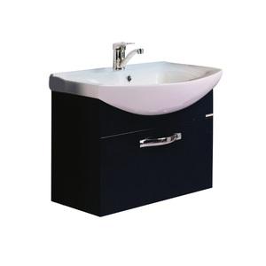 Тумба мебельная подвесная Ария 65 черная (раковина приобретается отдельно) фото