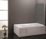 Шторка стеклянная на ванну CS-702 65х120 см, одностворчатая, складная, прозрачное стекло 6мм., хром матовый
