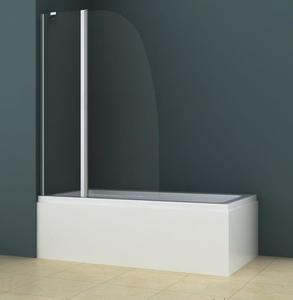 Шторка стеклянная на ванну AZ-142 100х140 см., хром матовый, 6 мм. прозрачное стекло, складная фото