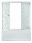 Шторка стеклянная раздвижная на ванну Мозаика 150 (148,5х147,5) профиль белый