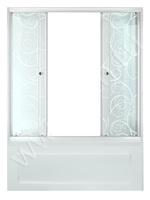 Шторка стеклянная раздвижная на ванну Узоры 150 (148,5х147,5) профиль белый