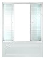 Шторка стеклянная раздвижная на ванну Полосы 150 (148,5х147,5) профиль белый