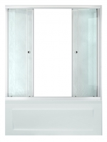 Шторка стеклянная раздвижная на ванну Риф 150 (148,5х147,5) профиль белый