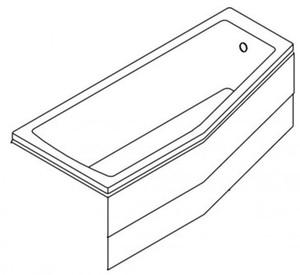 Панель передняя лицевая для ванны акриловой угловой асимметричной Neon 170х75 см фото