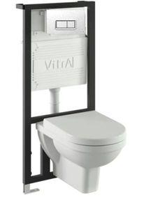 Подвесной унитаз с инсталляцией в комплекте Vitra Form 300 комплект 5 в 1 (инсталляция, кнопка цвет хром, крепеж, унитаз, сиденье с микролифтом) фото