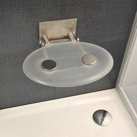 Сиденье на стену для душевого ограждения и ванны Ovo P складное овальной формы позрачное (цвет: clear)