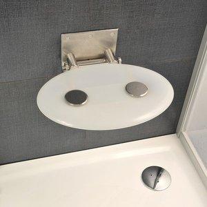 Сиденье на стену для душевого ограждения и ванны Ovo P складное овальной формы матовое (цвет: opal) фото