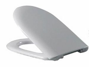 Сиденье для унитаза с крышкой, дюропласт Стрим 367х417,5-438,5, стальное крепление, белое фото