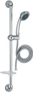 Душевая стойка Basic 2 (лейка 90 мм, экономия воды, 3 функции , шланг металл 1750 мм, штанга 750, мыльница), хром фото