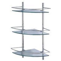 Полочка стеклянная угловая для душевых принадлежностей с ограничителями тройная 31x61x31 для ванной