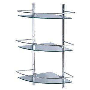 Полочка стеклянная угловая для душевых принадлежностей с ограничителями тройная 31x61x31 для ванной фото