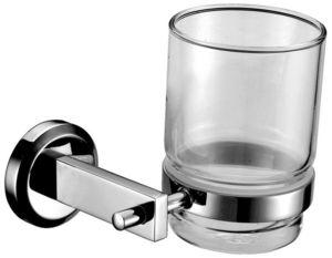 Стакан для зубной щетки с настенным держателем, одинарный  Мэджик, стекло, хром фото