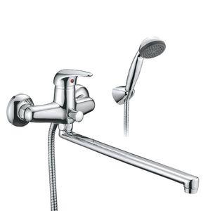 Смеситель для ванны Смарт-Реал, плоский излив 409 мм, с душем, универсальный, хром фото