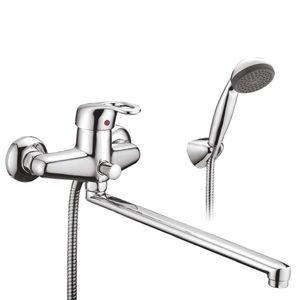 Смеситель для ванны Смарт-Тренд, плоский излив 416 мм, с душем, универсальный, хром фото