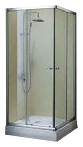 Душевое ограждение, размер 90x90 см, квадратное, алюминиевый профиль, глянцевый хром, для низкого поддона фото