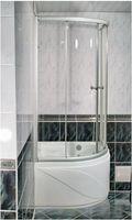 Душевое ограждение, размер 90x90 см, полукруглое, алюминиевый профиль, матовый хром, для высокого поддона