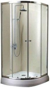 Душевое ограждение, размер 90x90 см, полукруглое, алюминиевый профиль, матовый хром, для низкого поддона фото