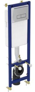 Инсталляция для подвесного унитаза Ideal Standard, прямоугольная хромированная кнопка, крепеж фото