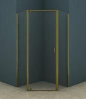 Душевое ограждение пятиугольное 90х90 см AZ-112P, прозрачное стекло 5 мм, профиль - бронза, без поддона