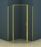 Душевое ограждение пятиугольное 100х100 см AZ-112P, прозрачное стекло 5 мм, профиль - золото, без поддона