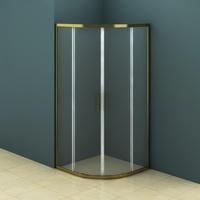 Душевое ограждение полукруглое 90х90 см AZ-121 S A, прозрачное стекло 6 мм, профиль - бронза, без поддона