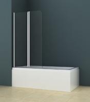Шторка стеклянная на ванну AZ-141 80х140 см, профиль - хром, стекло прозрачное 6 мм, складная