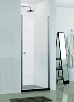 Душевая распашная дверь в нишу, 80х190 см, прозрачное стекло 6 мм, профиль - серебро, с покрытием easy clean