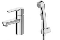 Смеситель для умывальника с гигиеническим душем Stream однорычажный без донного клапана