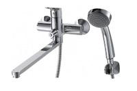 Смеситель для ванны Drop однорычажный с длинным изливом и душевой лейкой, хром