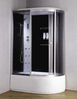Душевая кабина с гидромассажем 135х85 см, высота 2,2 м, стенки - черное стекло, дверки - тонированное стекло, профиль матовый хром, c высоким поддоном, Левая