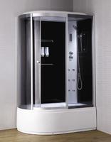 Душевая кабина с гидромассажем 135х85 см, высота 2,2 м, стенки - черное стекло, дверки - тонированное стекло, профиль матовый хром, c высоким поддоном, Правая