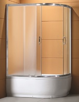 Душевое ограждение полукруглое асимметричное 120х80 см, высота 1,95 м, дверки - матовое стекло, профиль - матовый хром, высокий поддон, левая