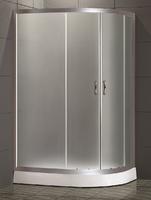 Душевое ограждение полукруглое асимметричное 120х80 см, высота 1,95 м, дверки - матовое стекло, профиль - матовый хром, низкий поддон, левая