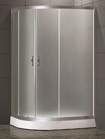 Душевое ограждение полукруглое асимметричное 120х80 см, высота 1,95 м, дверки - матовое стекло, профиль - матовый хром, низкий поддон, правая