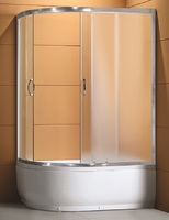 Душевое ограждение полукруглое асимметричное 100х80 см, высота 1,95 м, дверки - матовое стекло, профиль - матовый хром, высокий поддон, правая