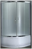 Душевое ограждение 90х90 см, высота 1,95 м, дверки - матовое стекло, профиль - матовый хром, высокий поддон