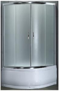 Душевое ограждение 80х80 см, высота 1,95 м, дверки - матовое стекло, профиль - матовый хром, высокий поддон фото