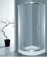 Душевое ограждение 90х90 см, высота 1,95 м, дверки - матовое стекло, профиль - матовый хром, низкий поддон