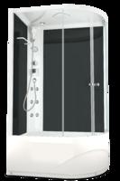 Душевая кабина с гидромассажем 120х80 Delight 128L high, высота 2,18, стенки - черное стекло, дверки - прозрачное стекло, c высоким поддоном, Левая