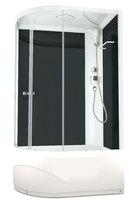 Душевая кабина 120х80 Delight 128R high, высота 2,18 м, стенки - черное стекло, дверки - прозрачное стекло, c высоким поддоном, без гидромассажа, Правая