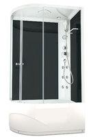 Душевая кабина с гидромассажем 120х80 Delight 128R high, высота 2,18 м, стенки - черное стекло, дверки - прозрачное стекло, c высоким поддоном, Правая