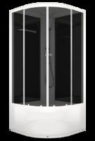 Душевая кабина 90х90 Delight 99 high, высота 2,18 м, стенки - черное стекло, дверки - тонированное стекло, профиль - белый, c высоким поддоном, без гидромассажа