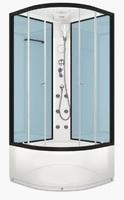 Душевая кабина с гидромассажем 90х90 см Delight 99 high, высота 2,18 м, стенки - стекло Dusty Blue, дверки - прозрачное стекло, профиль - графит, c высоким поддоном