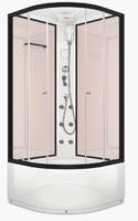 Душевая кабина с гидромассажем 90х90 см Delight 99 high, высота 2,18 м, стенки - стекло Pink Cappuccino, дверки - прозрачное стекло, профиль - графит, c высоким поддоном