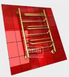 Полотенцесушитель водяной в форме лестницы Модель W 80/50 3 полки, нижнее подключение, цвет золотой хром, К1 (без углов)