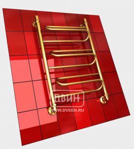Полотенцесушитель водяной в форме лестницы Модель W 80/50 3 полки, нижнее подключение, цвет золотой хром, К1 (без углов) фото
