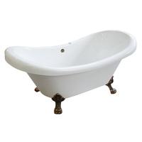 Ванна отдельностоящая акриловая белая Faro Классик CLDS67M 170х80 см на львиных лапах цвета бронза (ножки приобретаются отдельно)