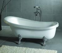 Ванна отдельностоящая акриловая белая Faro Ретро DMC-9009 150х76 см на львиных лапах цвета хром (ножки приобретаются отдельно)