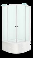 Душевое ограждение 90х90 Fit 99 high, высота 1,95 м, дверки - сатин матированное стекло, профиль - белый, для высокого поддона